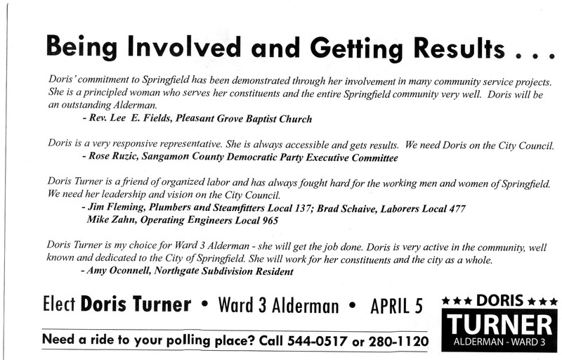 Flyer for Doris Turner Election to Alderman for Ward 3