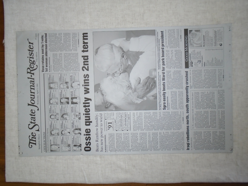State Journal-Register Front Page: Langfelder Re-election, 1991