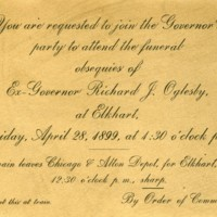 Invitation to Governor Oglesby's Funeral