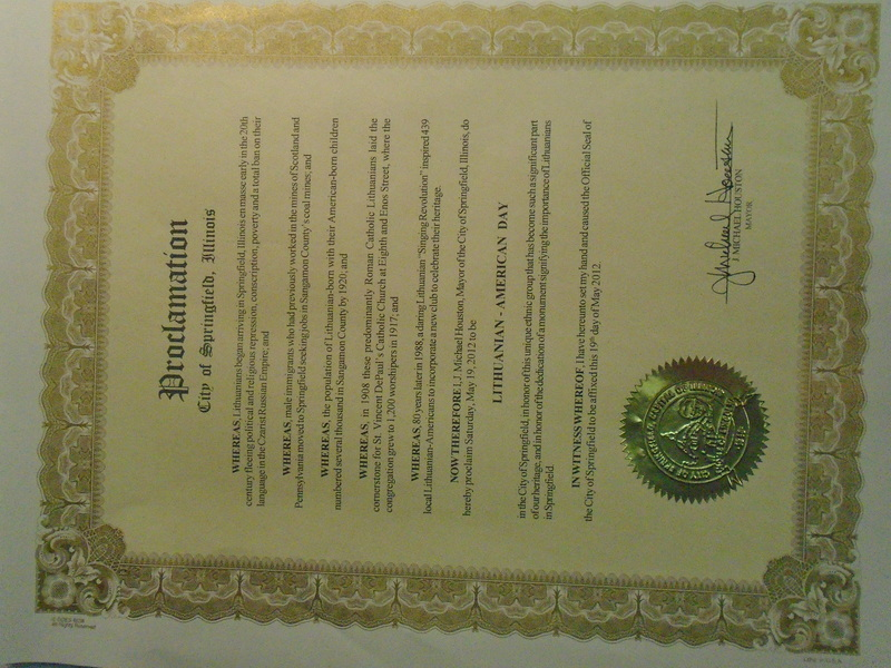 City of Springfield Proclamation of Lithuanian - American Day