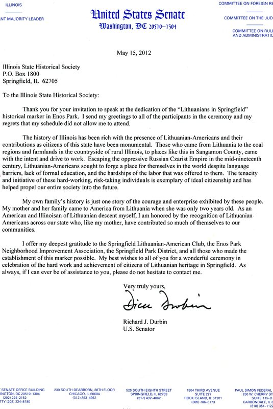 Senator Dick Durbin's Letter About the Lithuanians in Springfield Historic Marker