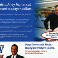 Flyer for Andy Manar as State Senator
